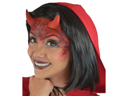 This She Devil Horns Monster complete makeup kit include the latex appliances, glue, makeup and sponges.  Put a horrifying She Devil costume together!