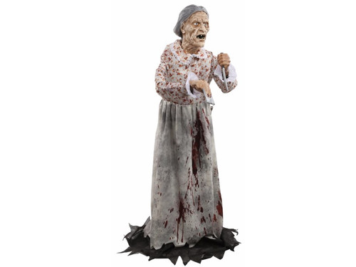 Not your normal sweet Granny! This 5-foot-tall static prop features an easy to assemble push-button frame, posable arms, a full length dress and realistic plastic head with full gray wig. Her plastic hands hold a key in one and a knife in the other. Creepy!