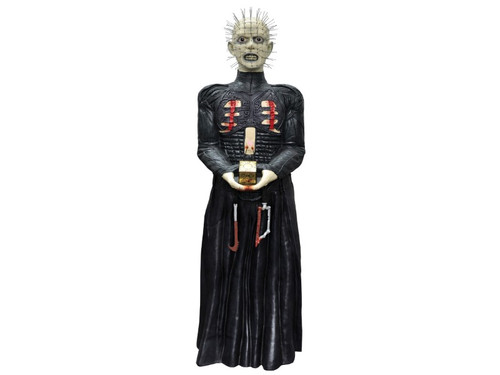 The ultimate cenobite torturer! Now you can own Pinhead for yourself. Hard-foam, two piece construction with three dimensional hard-foam torture implements hanging from his waist. Pins are in place when received. Prop stands 6 feet tall. Great for any Halloween get together.