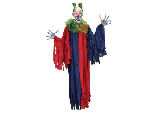 Vinyl, evil smiling clown head bust, green hair attached, light-up LED eyes (requires 3 LR44 cell size batteries not included.) with dangling cloth costume, collar attached. Super detailed, long spindly fingered hands with long fingernails attached to adjustable arms. 60 inches tall.
