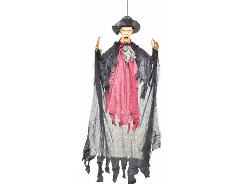 This scary man comes with his mouth open and hangs a length of 3 Ft (36 inches). Head is vinyl and hands are plastic.