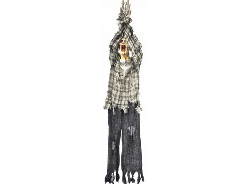 The Hanging One Eye Zombie with his hands tied is one scary sight! This prop hangs 3 Ft (36 inches). Vinyl head and plastic hands. 36 x 10 x 6 inches
