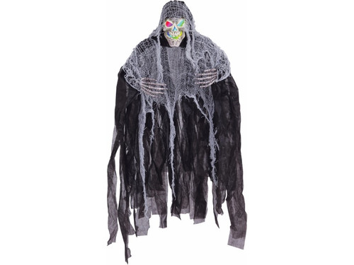 This hanging reaper is sure to mesmerize your victims at your haunted house or home haunt unlike anything before. Lights change color. Skull with hands and hood with gauze. Uses 3 AG13 watch batteries which are not included. 35.5 x 33 x 5 inches.