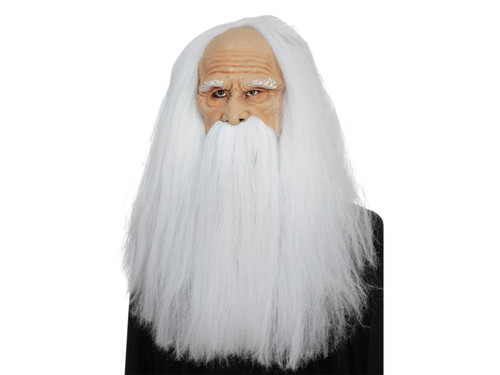Transform into a Magician Of Wizardry with this detailed latex mask with attached synthetic hair and mustache. One size fits most adults.