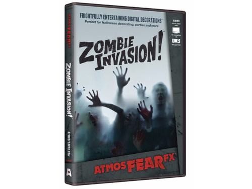 With this AtmosFEARfx Zombie Invasion! Digital Decoration Frightfully entertaining digital decorations you can watch as zombies try to get through the wall or window! Dvd includes four display modes: standard, shadow, interior, and exterior. Includes both landscape and portrait TV modes. The effects can be triggered or loop continuously. Soundtrack is included. Great new idea!