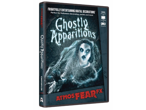 AtmosFEARfx Ghostly Apparitions Digital Decoration Frightfully Entertaining Digital Decor! Watch ethereal figures come through the wall, or drift by! Ghostly Apparitions dvd includes multiple display modes and is recommended for projection of a wall or window, or you can play on your TV or monitor. Soundtrack is included. Can be displayed vertically or horizontally! The effects loop continuously. Great new idea for your next haunted gathering!