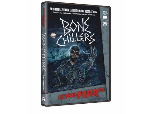 AtmosFEARfx Bone Chillers Digital Decoration Frightfully Entertaining Digital Decor! Watch skeletons and reapers come alive on your own wall! The Bone Chillers dvd includes multiple display modes and is recommended for projection of a wall or window, or you can play on your TV or monitor. Soundtrack is included. Can be displayed vertically or horizontally! The effects loop continuously. Great new idea for your next haunted gathering!
