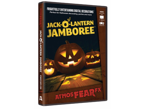 AtmosFEARfx Jack-O'-Lantern Jamboree Digital Decoration Frightfully Entertaining Digital Decorations! Three funny and scary pumpkins sing and tell stories! Jack-O-Lantern Jamboree dvd has multiple display modes. Recommended for projection on a wall or window, or display on TV or monitor. You can even project onto uncarved pumpkins for a cool 3-D effect! Includes soundtrack. Effects loop continuously. Great new idea!