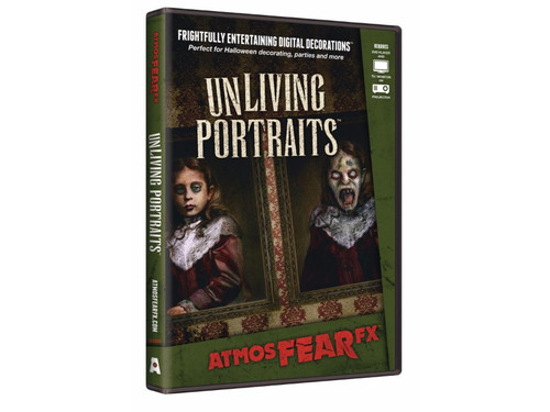 With this AtmosFEARfx UnLiving Portraits Digital Decoration Frightfully entertaining digital decorations you can watch the Unliving Portraits feature three characters: the stern gentleman, a lovely debutante, and a creepy little girl. Watch them age before your eyes, or let evil come out! Recommended for projection on a wall or window with a digital projector, or you can play on your TV or monitor. Portait or landscape display modes are available. Effects loop continuously. Soundtrack is included. Great new idea!