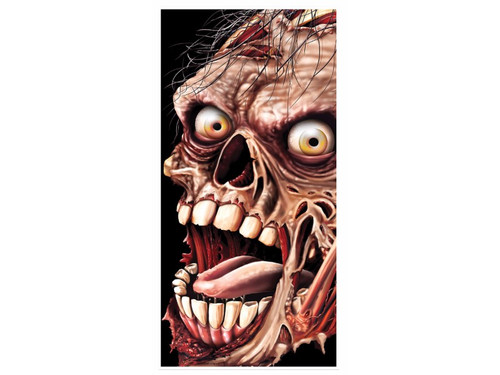 Now this is one serious zombie door cover! Our Zombie Door Cover is sure to please any Zombie enthusiast! This colored printed (on one side) realistic zombie cover comes with exceptional detailing of rotting teeth and bones, wired hair, flesh tearing skin, and piercing eyeballs! Polyethylene. Indoor/Outdoor. Attach to the door as you desire. Photo print only on one side. Includes door cover only. 30in. x 5ft.
