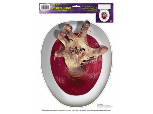 A great new gag idea perfect for your Halloween party. Place this topper on top of your toilet lid and keep everyone out of your bathroom! Features swirling, bloody toilet water with a hand reaching up! Horrifying! Vinyl. 12in x 17in sheet.