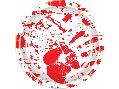 A great idea for your home Halloween party! White plate with bloody handprint and blood spatter design. Paperboard. 8 plates per pack. 9 in.