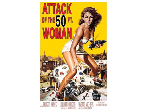 Vintage horror movie post a cling poster of the classic, The 50-Foot Woman. 24 in x 36 in.