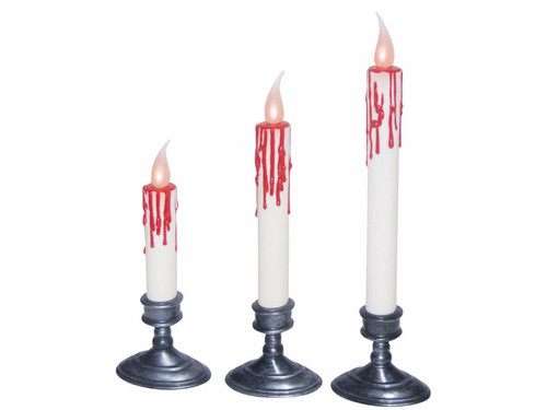 """Set of 3 candles, one taller than another. Blood appears to be dripping down each one. Light up candle flame is contained on each. Candles measure: 11"""", 9"""" and 7"""". Each candle requires 1 CR2032 battery not included."""