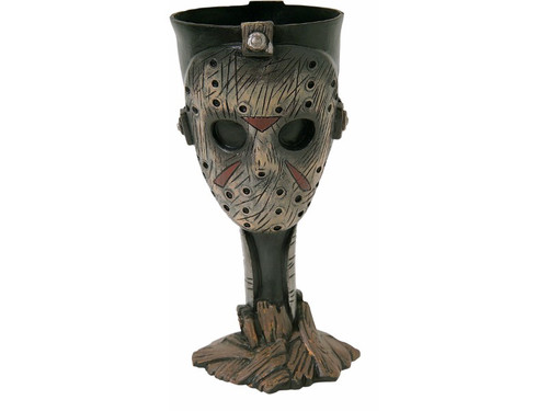 Now you can drink from the goblet bearing the likeness of Jason from the classic horror slasher film, Friday The 13th. Plastic goblet with stem and base, 7 inches tall.