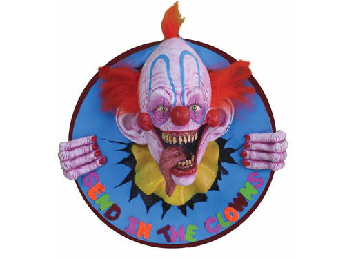 Welcome to every child's (and some adults) nightmare! This three dimensional 3D clown wall plaque will have people jumping back in fright. This scary clown is ready to bust out of any wall or haunt with detailed sculpting and design. Offered with a picture wire on the back for hanging ease. Perfect for a home haunt or simply your living room!! 23 inches in diameter x 9 inches deep.