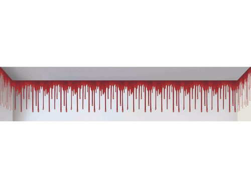 A perfect mood-setter and accessory for your haunted house scene. Placed properly at top of wall will make scene look like blood is dripping from floor above and running down the wall. 20' x 1.5'. For indoor or outdoor use. Plastic static cling film. Secure with double-sided tape as needed. Printed on a transparent background with opaque inks for a great 3D illusion.