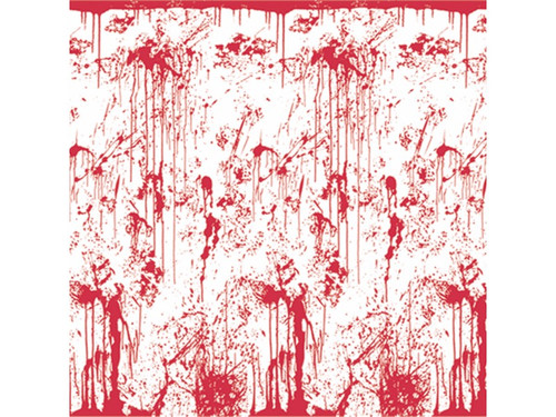 This blood-spattered backdrop is great for photo-ops or simply decoration at your halloween party or haunt. White backdrop with red blood spatter. Made with PEVA. 4ft x 30ft. Attach to walls as desired.