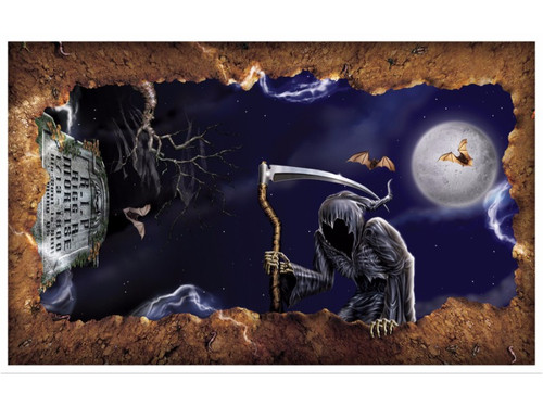 An exciting new concept that is sure to make the victims at your Halloween party scream in total horror! Place this prop on the ceiling and it looks like you are peering out of your grave with the grim reaper looking down at you! Startling colorful scene that depicts a dark stormy night, full moon and flying bat for a more creepy feel! Polypropylene backdrop. 3ft 2in x 5ft 2in. Attach to walls as desired. Backdrop included. Indoor/Outdoor use.