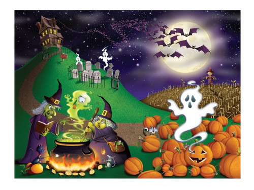A great wall decoration for Halloween that's both spooky and humorous at the same time. Photo print wall mural depicts a scene on a hill with a mansion, ghost rising from graveyard, bats flying against the moon, two witches stirring their cauldron and a ghost appearing out of a pumpkin patch. Polypropylene. 5ft x 6ft. Attach to area as desired.