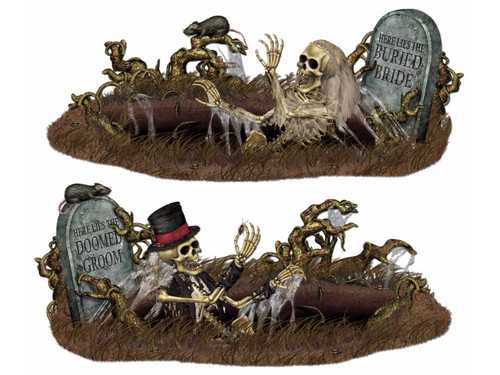 These props are sure to give your victims a fright! Great for your Halloween party or your home haunt! 2 scenes included, one with skeleton groom emerging from grave and the other with the skeleton bride doing the same thing. Polypropylene. 33 1/2 x 5ft 3in. Scissors required to cut out pieces. 1 sheet with buried bride, 1 sheet with doomed groom. Pins/adhesive required.