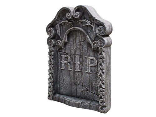 Looks like the real thing! Lightweight polystyrene tombstone have realistic weathered-stone look, with 2 plastic ground stakes. Perfect for any haunted house, graveyard or tomb! 30in tall x 22in wide x 4in deep.