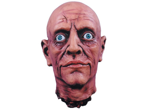 Latex Cut Off Head with realistic plastic eyes. Excellent detailing and hand painted. Very lifelike. Head is approximately 11 inches tall, 7 inches wide and 8 inches front to back.