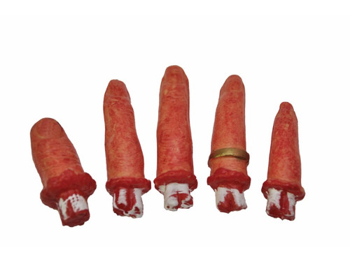 5 bloody-looking cut-off fingers with protruding bones for decorating your haunted scenes! Comes in a mesh bag. Vinyl. Package is 6 x 4 x 2 in.