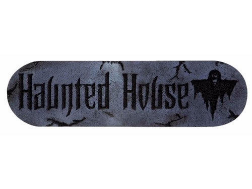 Realistic stone-look sign with word Haunted House and picture of ghost. Foam. Approximately 12 inches wide x 4 inches tall and 1 inch thick.