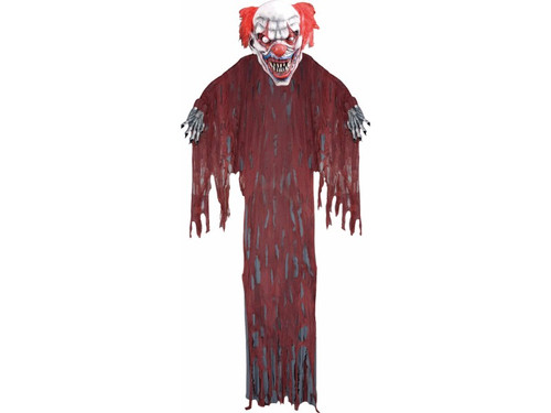 Startling and scary! This hanging evil clown comes with robe and tattered gauze for an extra decayed look. 12 foot long.