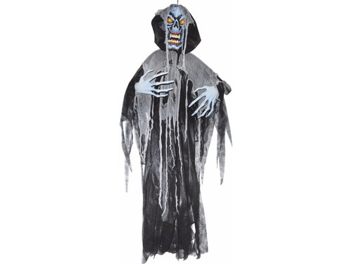 There's no ghoul like your favorite ghoul and after your victims see this hanging light up ghoul, they will never be the same. Color changing light. Uses 3 AG13 watch batteries which are not included. 72 x 60 x 5 inches.