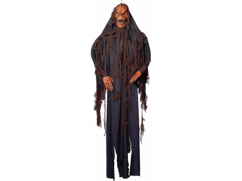 Perfect for a haunted house. Hanging pumpkin-headed ghost draped in black robe and gauze. 6 foot tall.