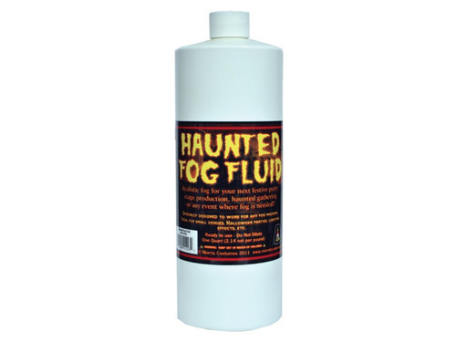 Haunted Fog Fluid Quart. Fog in a bottle! Specially designed to work for any fog machine ideal for small venues, Halloween parties, lighting effect, etc. Ready to use - Do Not Dilute. One quart (2.14 net per pound). Precautions printed on bottle for safe use. Do not swallow. Liquid not intended for internal consumption. Use only in water-based smoke/fog machines. Realistic fog for your next festive party, stage production, haunted gathering, or nay event where fog is needed! Use with fog machine to create haunting scenes.