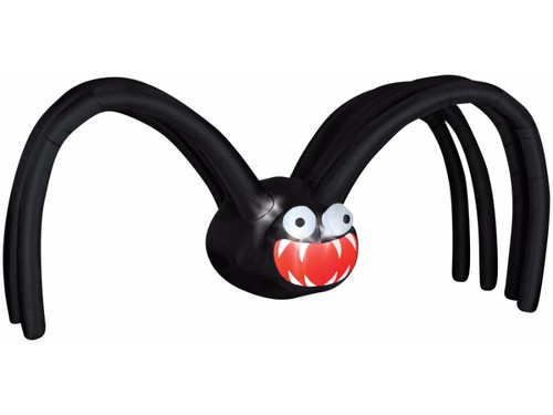 This larger-than-life spider is sure to get the attention of your neighbors and Halloween visitors! The inflatable light up giant Black Spider is an impressive 12 feet wide and 5 feet tall! Prop is easy to use and includes everything needed for set-up, including stakes and tethers. Simply plug into a 110 outlet and the spider self-inflates in seconds and then deflates for easy storage. The weather-proof fabric makes this inflatable a perfect outdoor Halloween yard decoration.
