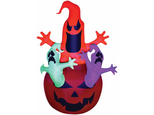 Airblown Pumpkin Jack with Neon Color Ghosts Trio scene stands almost 7 feet tall! Lights up and self-Inflates in seconds. Includes black light spotlight, 4 base stakes, 4 tether stakes, 4 nylon tethers, inflatable unit. ETL listed. Indoor/Outdoor use. Can be used in the daytime too!