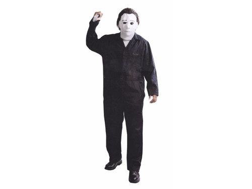 Full size poly cotton, long sleeve jumpsuit with zipper front. Includes Michael Myers Mask.(2XX fits sizes 54-56)  (c) 1978 Falcon International Prod. All Rights Reserved. (c) 2008 Compass International Pictures, Inc. TM Falcon Intl. Prod. All Rights Reserved.