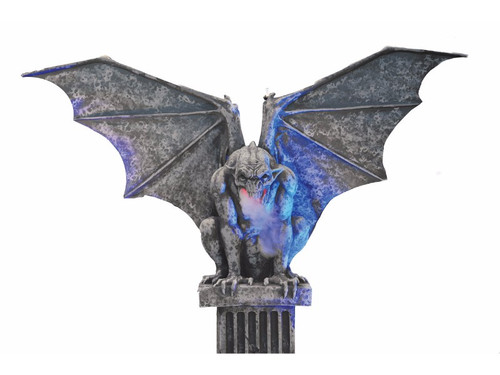 Very impressive Animated Gargoyle ... ALL ELECTRIC, no compressor needed!! Perfect for rentals, parties, store displays and haunted attractions. This Gargoyle is over 7 ft. tall from the bottom of his pillar to the top of his wing tips, but is self contained and easy to move. Wings move up and down, programmed with the soundtrack. Includes controls, sound and lit eyes. Fog is optional (the Gargoyle has a fog tube embedded in him so that a fog machine can easily be set in place at his base, allowing the fog to travel up through the hose and out of his mouth). Foam and latex with metal armature and plate. Requires only 110V electricity.