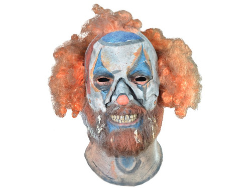 A sinister-looking mask of one of the intense characters from Rob Zombies new movie 31. 100% latex. Individually hand painted for the best look possible. One size fits most adults. Hair attached. Full over-the-head mask.