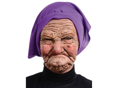 This sour faced granny might be a little happier if she could find her dentures! Show up in this mask and no one will give you any guff, that's for sure! This detailed granny mask features weathered, wrinkled skin, a disagreeable expression and purple head scarf. The full-face mask is made from latex and polyester and is the perfect addition to your grumpy granny costume!