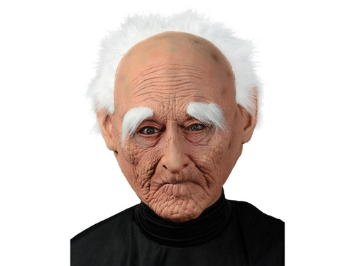 Transform into a creepy old man with this detailed latex mask. This old man mask features crinkled skin with age spots, pursed lips, long eyebrows and a receding hairline with white hair. Mask is a full face mask made from latex and polyester and is held in place by an elastic strap that goes around the back of the head. Be the crabby elderly person that you will someday become with this funny costume!