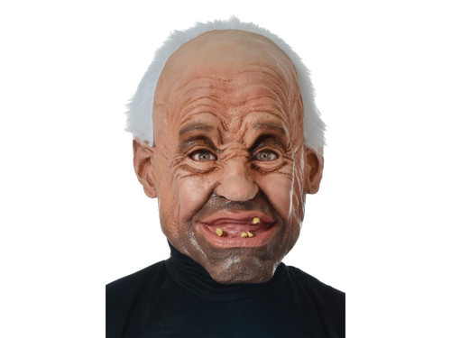 Take your old man costume from funny to hilarious with this goofy old man mask. His silly grin will have everyone laughing. The detailed latex mask features wrinkled skin, furrowed brow, five o'clock shadow, receding hairline with white hair and a snaggletooth grin. Latex full-face mask is made from latex and polyester and is held in place by an elastic strap that goes around the back of the head. Get creative and add your own redneck old man clothes for one knee-slapping Halloween costume.