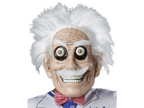 This mad scientist has inhaled a few too many chemicals! The vacuform mask has wide googly eyes, white bushy eyebrows, fluffy mustache and bristly white hair. He has clearly lost his mind by the looks of his wild grin and furrowed brow. Plastic mask is held in place by an elastic strap that goes around the back of the head. One size fits most.