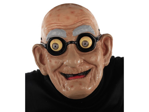 Wear this funny old man mask and you will have an excuse to be ornery and crabby all night long! Tell those young whippersnappers how it is and relish the memories of the good old days. This old man mask features a bald head, complete with age spots, yellow googly eyes, dark rim classes and a wrinkly grin. Mask is a + head mask and made from latex and polyester and is held in place by elastic strap that goes around the back of the head. Add your own cane and plaid pants and you will rock the bingo parlor!