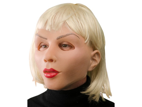 Perfect female mask for a doll, beautiful woman, mannequin or a night of purging! This full face mask features thin arched eyebrows, bright red lips, sculpted cheek bones and platinum blonde shoulder length hair with bangs. Created from super soft, light weight latex that allows the mask to form to the face giving it life-like movement, great visibility and is comfortable to wear all night long!
