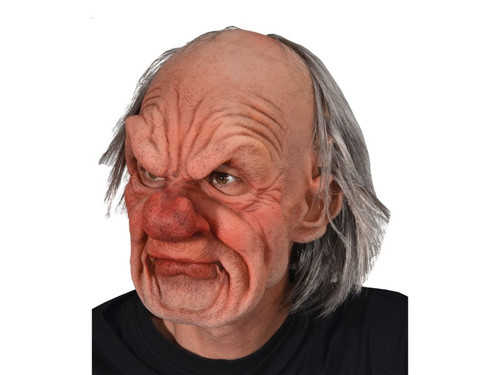 Take your grandpa costume to the next level with this mean old man mask. The full-face mask features exaggerated wrinkles, large red nose, receding hairline and wispy gray hair. Created from super soft, light weight latex that allows the mask to form to the face giving it life-like movement, great visibility and is comfortable to wear all night long!