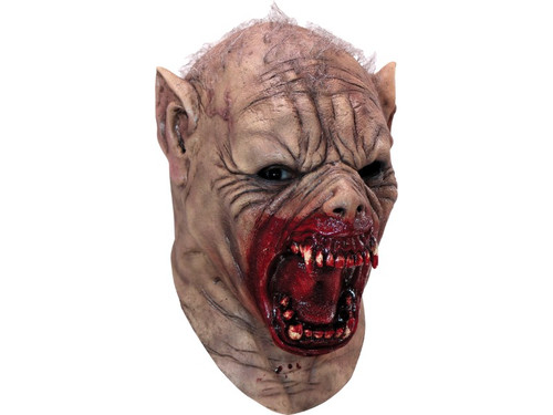 This full, over-the-head mask depicts the gruesome transformation of a human turning into a werewolf, with his face frozen in a menacing expression of anguish and intense hunger. Crafted from high quality latex and detailed with wiry gray hair, pointed ears, furrowed nose, and a gaping mouth dripping with blood.
