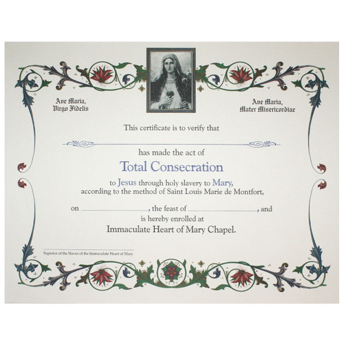 Total Consecration To Mary Certificate