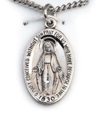 "Oval Sterling Miraculous Medal 18"" Chain"
