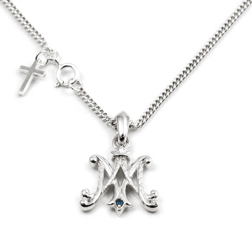 Sterling Ave Maria Pendant