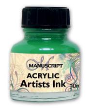 Manuscript 30ml Emerald Green Artists Acrylic Ink Bottle